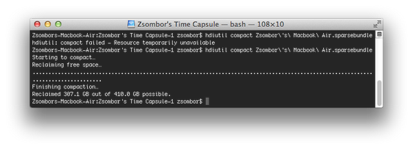 Zsombor Szabó (@zssz): Deleting backups from Time Machine isn't enough. hdiutil is the one that reclaims free space. Gained 307.1 GB. #ftw http://t.co/gJ3DmpMowV