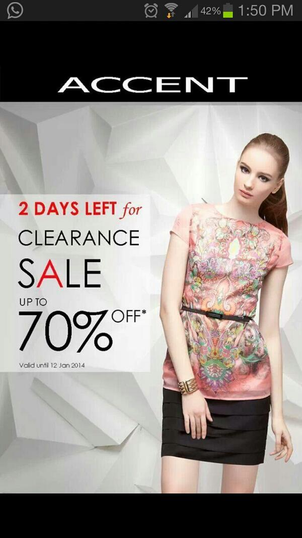 Wohoooo @MyAccentFashion lagi Clearance Sale Up to 70% OFF.. langsung pengen ke storenya :D http://t.co/YNoww48aND