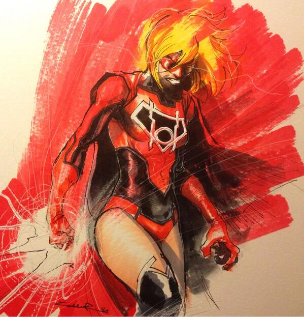 Art IllustrationRed Lantern Supergirl