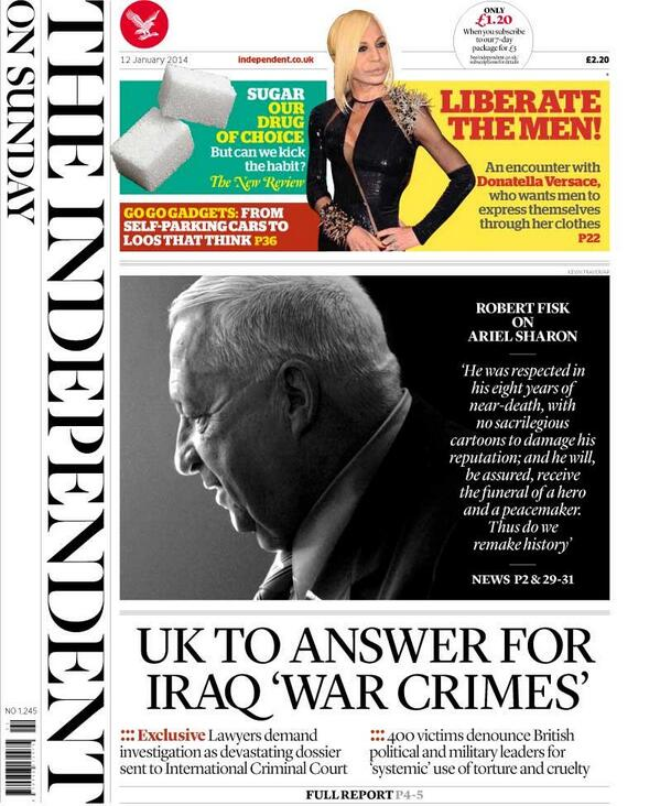 Tomorrow's front page  EXCLUSIVE: UK TO ANSWER FOR IRAQ 'WAR CRIMES' http://t.co/WsTjibf5Sc