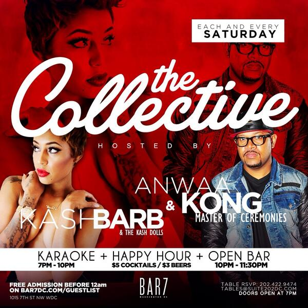 Tonight #TheCollectiveSaturdays w/ @AnwaaKong & @KashBarb! ALWAYS a hell of night w/ these two! #HappyHour #OpenBar http://t.co/Q5XRLWjme5