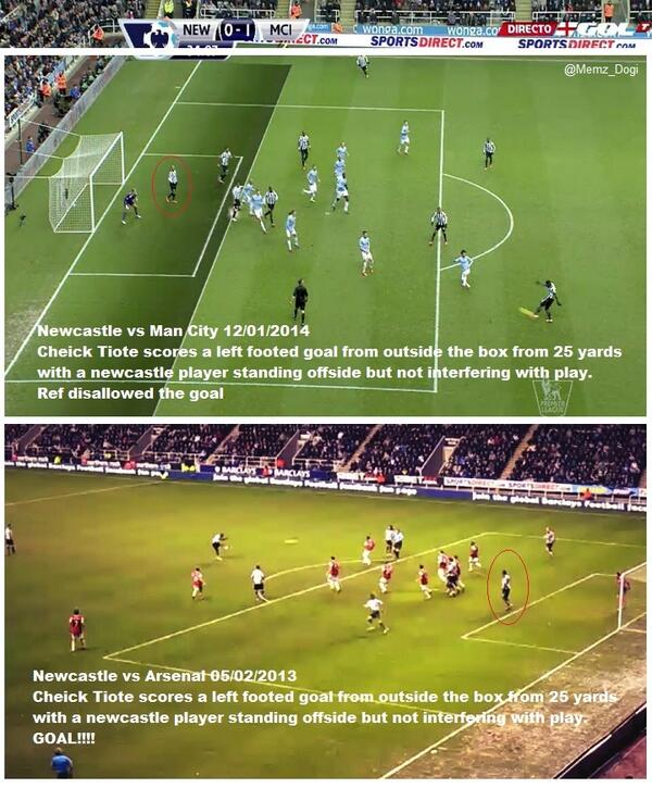 BdytHqeIAAAXPW  Arsenal fans wonder why Tiote goal for Newcastle in 4 4 stood after Man City decision today