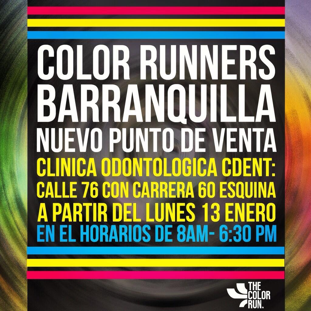 Tenemos un nuevo punto de venta para ustedes #ColorRunners :) #TheColorRunBarranquilla esta llegando!!! http://t.co/shmj5YZvR4