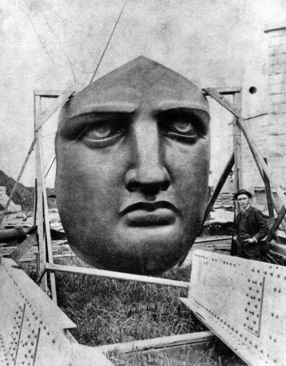 Turns out, she's Elvis. RT @HistoryInPics: The Statue of Liberty's face before it was installed - 1886 http://t.co/5inhsjBRdN