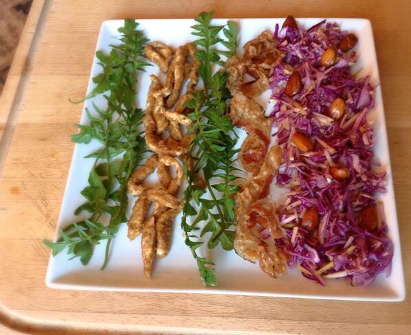 Wild greens & sesame chicken strips + cabbage, apple, almond slaw w mustard dressing & crisp pancetta http://t.co/AJuC5LMqBB