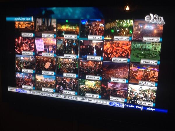 CBC with ridiculous split screen of #jan25 'celebrations' across #Egypt http://t.co/D8QHmkEGXC