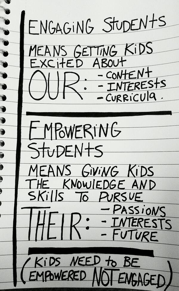 Engaging students shouldn't be our primary goal. #educon http://t.co/PlE6A425Iz