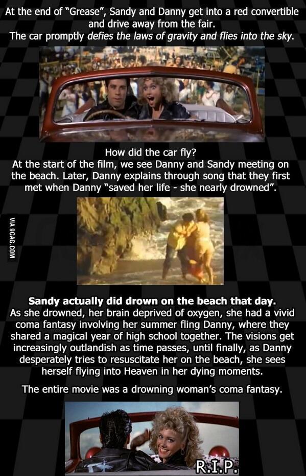 """A theory on the ending of """"Grease"""" http://t.co/V93UF1v8Ob via @9GAG http://t.co/RGWkBgjZXb"""