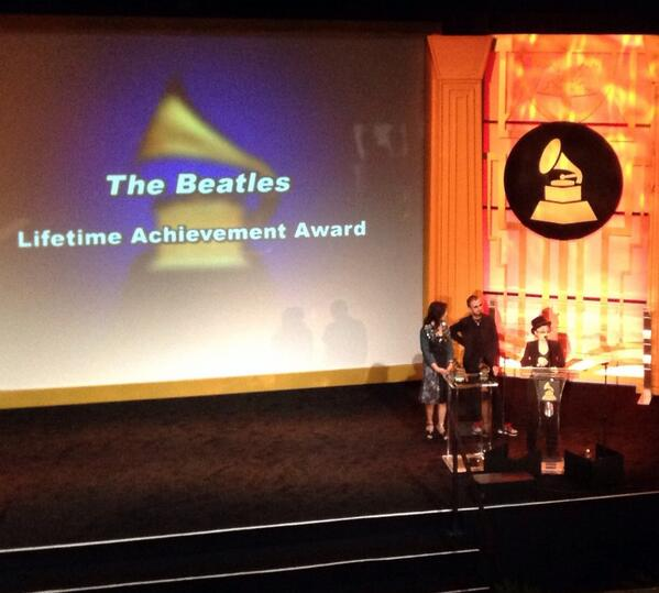 Yoko Ono, Ringo Starr and George Harrison's widow accepting the GRAMMY Lifetime Achievement Award. http://t.co/DocTtj7zps