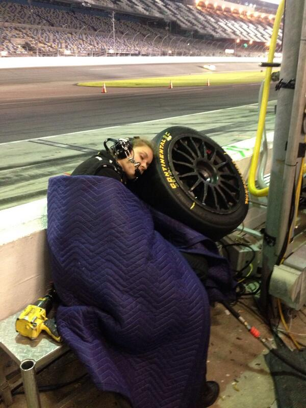 Might be the first time we've ever seen our tire used as...a pillow?? #tiresrule #ButAreNotSoft #Rolex24 http://t.co/HpcJCCFQ4i
