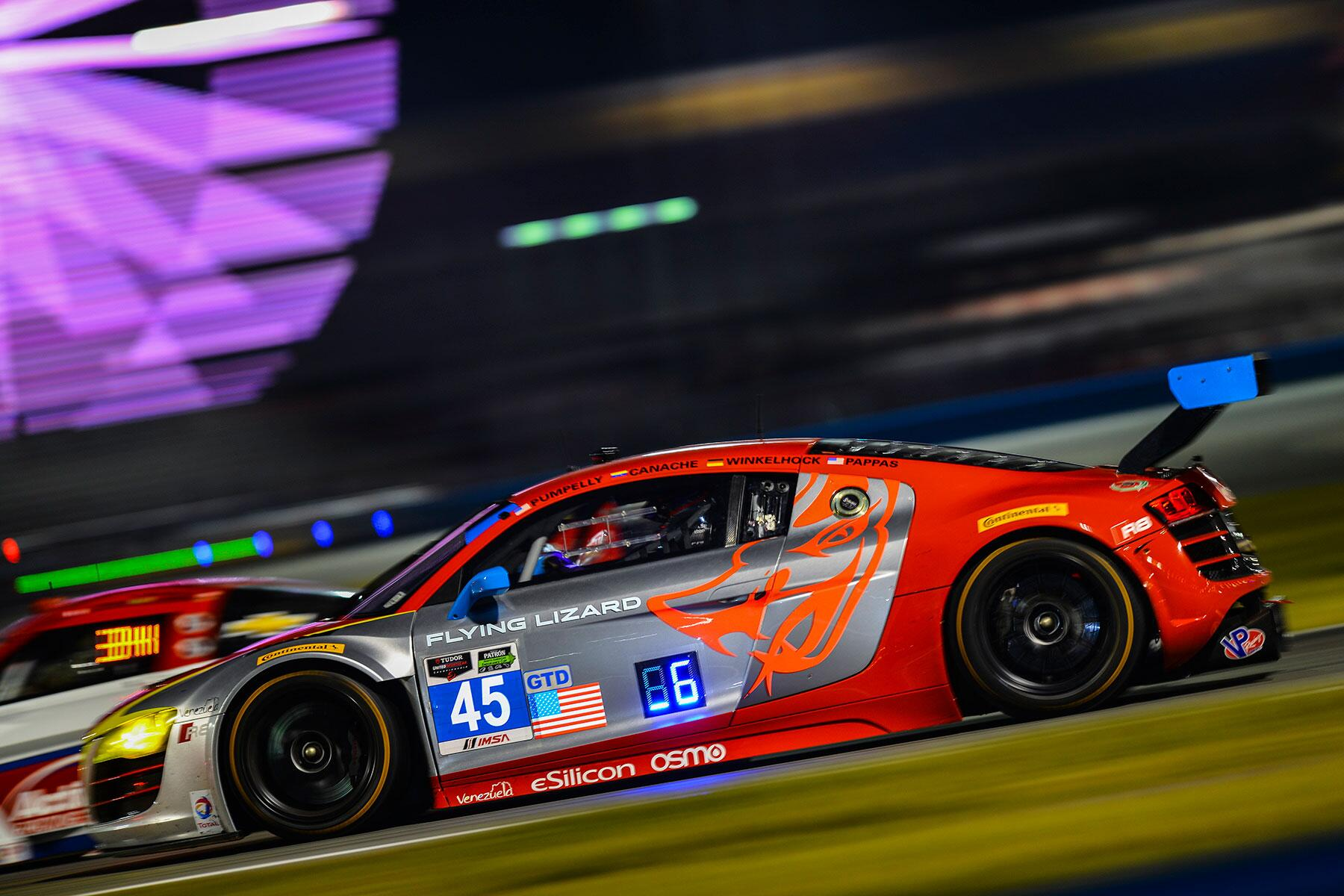 With five hours left at the #Rolex24 the No. 45 @FlyingLizard_MS #R8LMS is still in the hunt for the #GTD class win http://t.co/zhInOcBiKZ