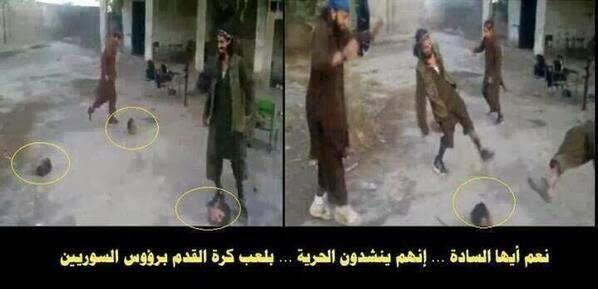 https://t.co/6p0YNtu2uu ... لم نتصور يوماً أن الإجرام سيصل لحد اللعب بالكرة برؤوس السوريين إنهم #عصابات_البغدادي http://t.co/TtXeKpNOBo
