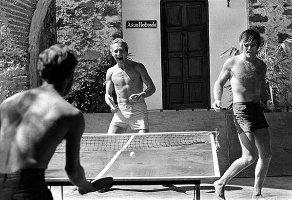 Paul Newman and Robert Redford playing ping pong on set of Butch Cassidy and the Sundance Kid. http://t.co/j1adOhJYQR