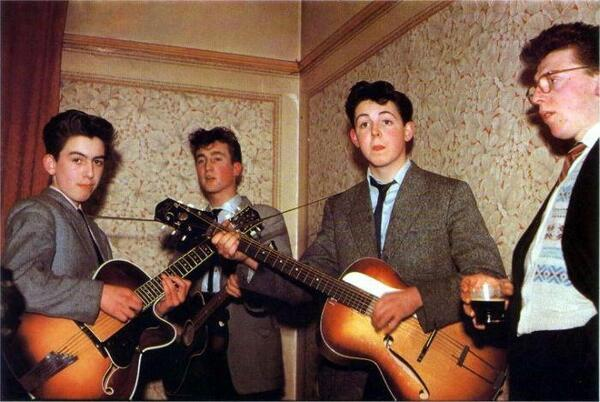 Quarrymen -RT @HistoryInPics: The Beatles in 1957. George Harrison is 14, John Lennon is 16, and Paul McCartney is 15 http://t.co/73Esv7JIG1