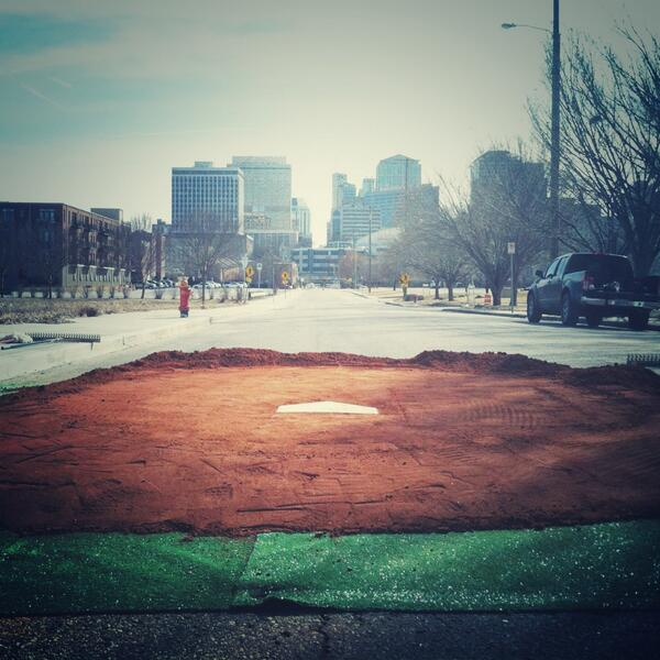 This is cool. RT @nashvillesounds: Home plate ready for Monday's #Soundbreaking! See u there! http://t.co/NtK6w7nzq5