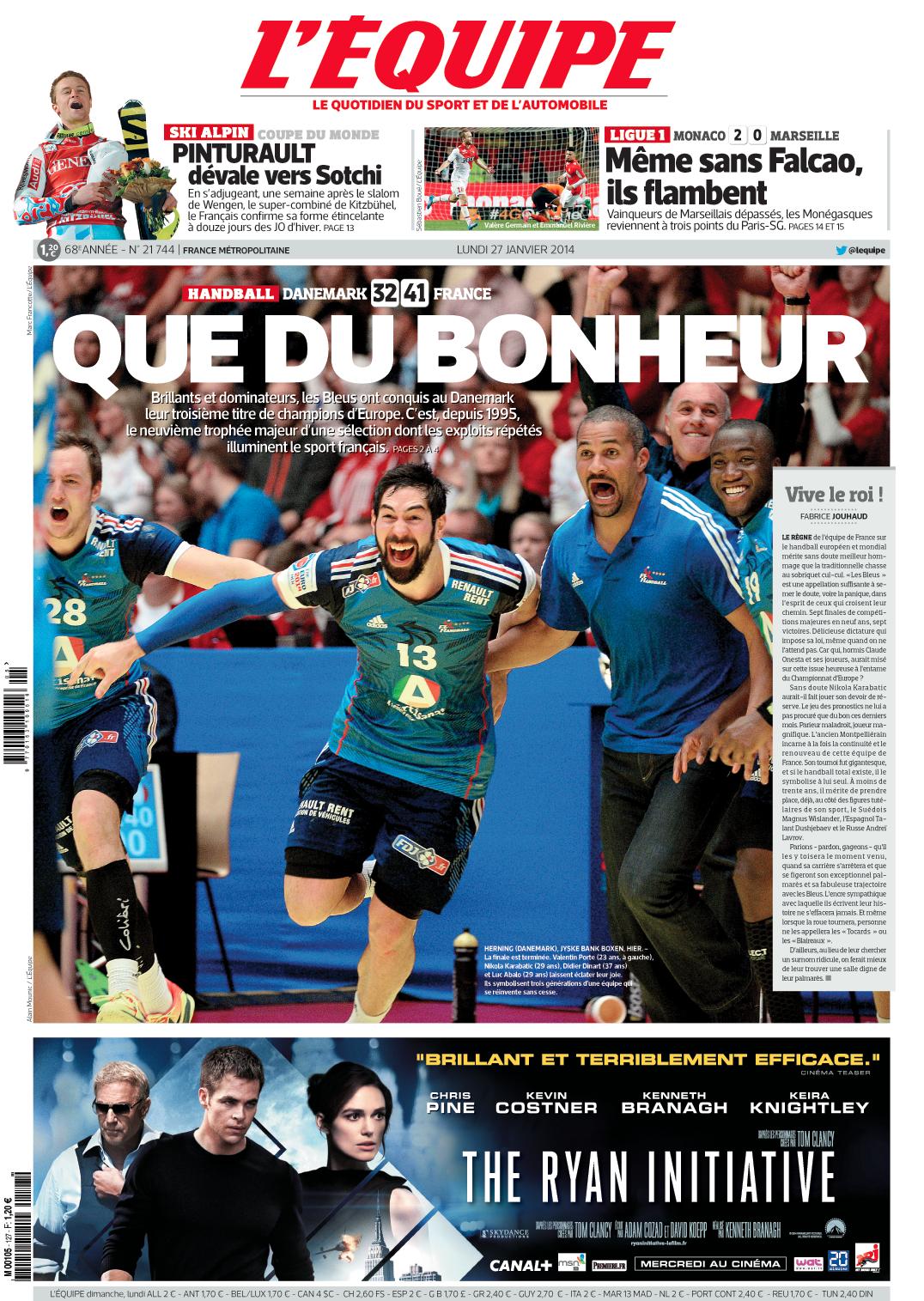 La Une qui célèbre la victoire des Bleus à l'Euro de handball : QUE DU BONHEUR ! http://t.co/so9I1AOtpZ