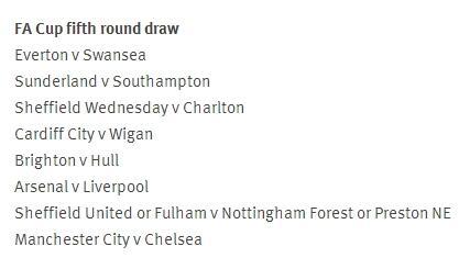 Hasil undian babak ke 5 Piala FA. Arsenal vs Liverpool, Man City vs Chelsea, Sunderland vs Southampton. #FACup http://t.co/ZFN1NtYPiJ