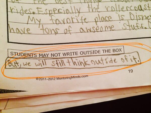 Love it! MT @daisyray215: This fourth grader won't be stifled!  http://t.co/23JmrZzXHw