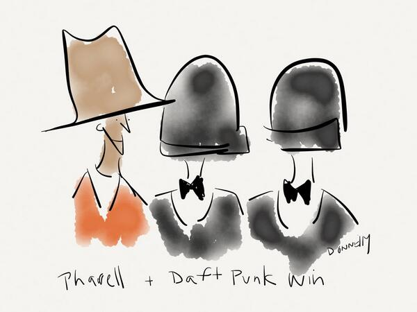 Pharrell and Daft Punk win together, as do their head coverings. #Grammys https://t.co/DA7F5ipX2B http://t.co/32CoVyt8ov