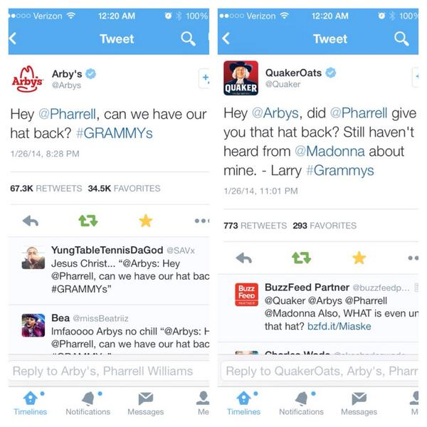 2 of the funniest & most retweeted tweets! All companies should learn from @Quaker & @Arbys how to use social media! http://t.co/3GYh6TN6Od