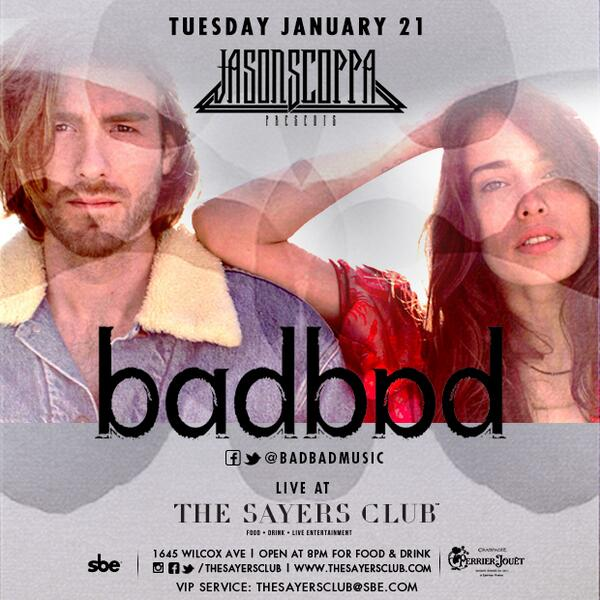 We're excited to announce that @badbadmusic will be joining us LIVE next TUESDAY!!! @JSCOPPAPresents #TheSayersClub http://t.co/7Yv8qFsfsY