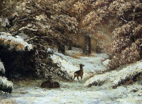 Deer in the Forest ~ Gustave Courbet #art http://t.co/qZ0uNCNlT6