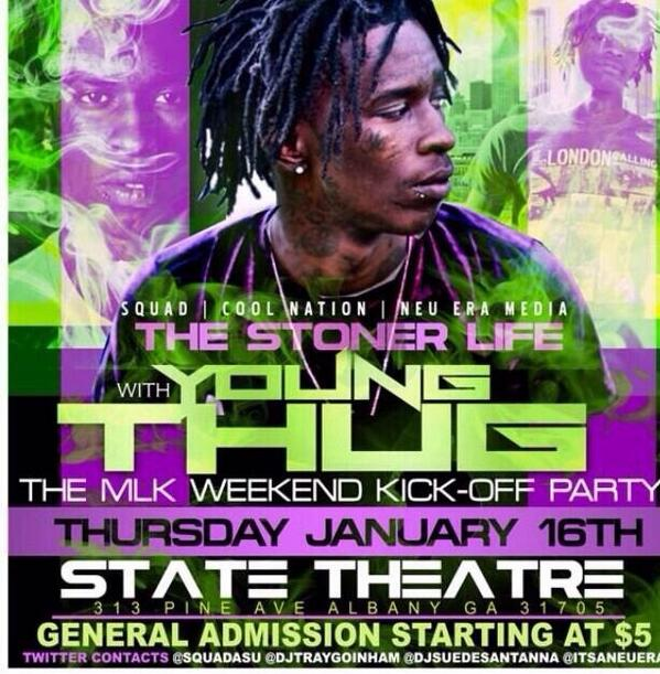 "******TONIGHT******* ""Young Thug""  #AlbanyGA @ State Theatre Thursday ""1ST 100 LADIES FREE""  http://t.co/F5d5vqN1d5 100"