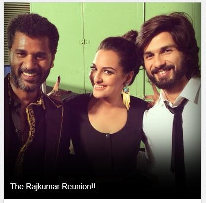 PIC -  The Rajkumar Reunion!!  @shahidkapoor, @sonakshisinha & @PDdancing http://t.co/vVl8qU5pFs http://t.co/6JtPsIlPAG