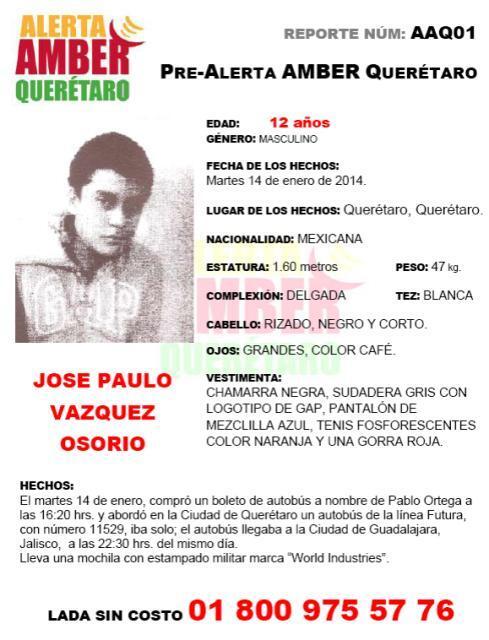 """""""@osoriochong: Pre #AlertaAmberMx en #Jalisco para encontrar a JOSE PAULO VAZQUEZ OSORIO de 12 años de edad. http://t.co/hZPJH9TIry"""""""