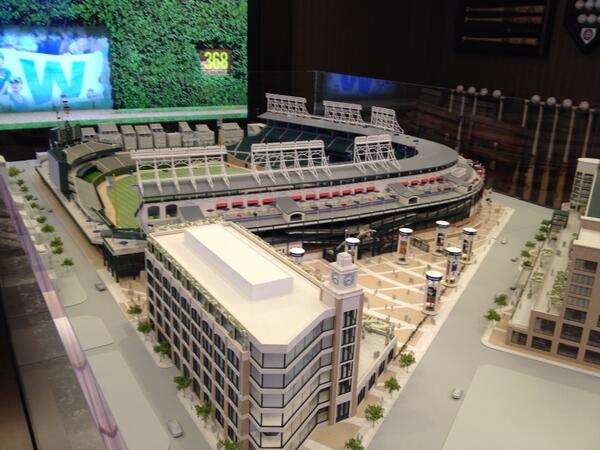 Finally got to see the #Wrigley renovation model inside #Cubs presentation room. Very cool. http://t.co/qh26uZlPDf