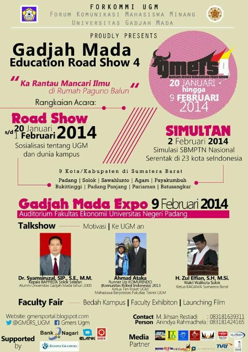 @FORKOMMI_UGM Proudly Presents Gadjah Mada Education Road Show 4 | 20 Januari - 9 Februari 2014 @InfoPariaman  http://t.co/ftyuEnkS8S