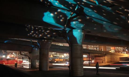 As of 4pm, dark parking lots under I-93 will be illuminated w/ public art: http://t.co/N5nxy1DMFe @fara1 @massdot http://t.co/hUZLzdq0FE