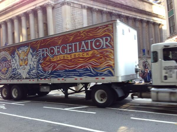 You know it's going to be a goody day in NYC when you see the @TroegsBeer truck on your way to work! http://t.co/OskIoRgDFx
