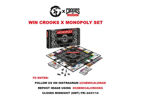 WIN this Crooks & Castles x Monopoly board game, follow us @chemicalgram, repost with #chemicalcrooks http://t.co/9mjUXaRrKE