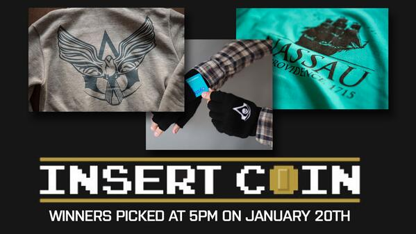 We have 2x #AC4BlackFlag Hoodies, Tee's & Gloves from @InsertCoinTees to giveaway! Retweet this tweet to enter! http://t.co/PgdXLCWbXY