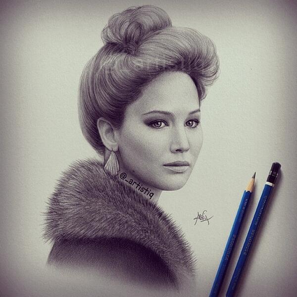 RT @_artistiq: Jennifer Lawrence in 'American Hustle'! 😍 Drawn with graphite pencils. http://t.co/46ZJUbqZmW