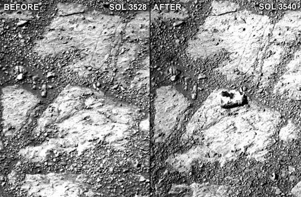 This mysterious rock just appeared in front of our rover on Mars: http://t.co/02Ugik2fJC http://t.co/BtMHiCoEQP