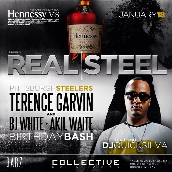 Tomorrow it's a celebration! Music by @DJQUICKSILVA & hosted by @t_garvin28 {NFL STEELERS} #TheBar7Experience http://t.co/lxPtpUSm2S