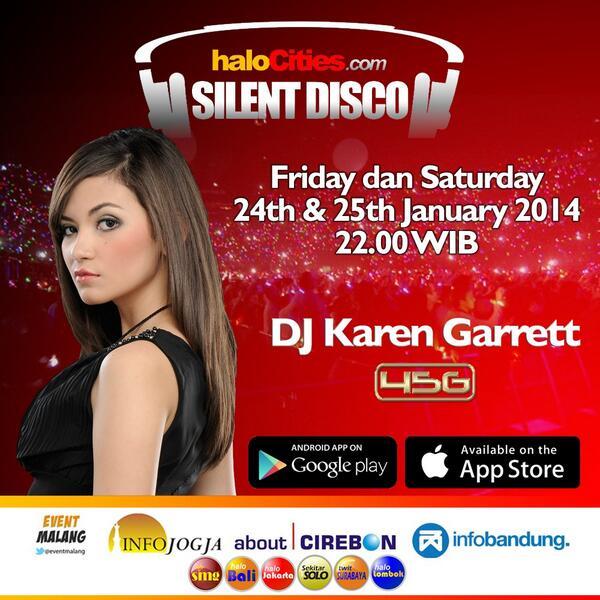 "24 & 25 January 22:00WIB ""SILENT DISCO"" http://t.co/NqgoxVDTo5 eRadio w/ DJ  @SoviaKaren 45G http://t.co/BfkqHccp8v"