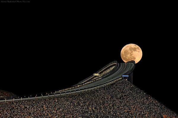 ''Drive Me to The Moon'',Full Moon over Atlantic Ocean Road in Norway.   Photography by Alireza Shakernia. http://t.co/TS3mhMUTE7