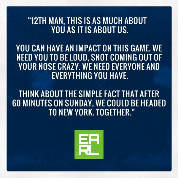 A message for our 12s, we need YOU tomorrow! #12thMan http://t.co/gmn0439ac0