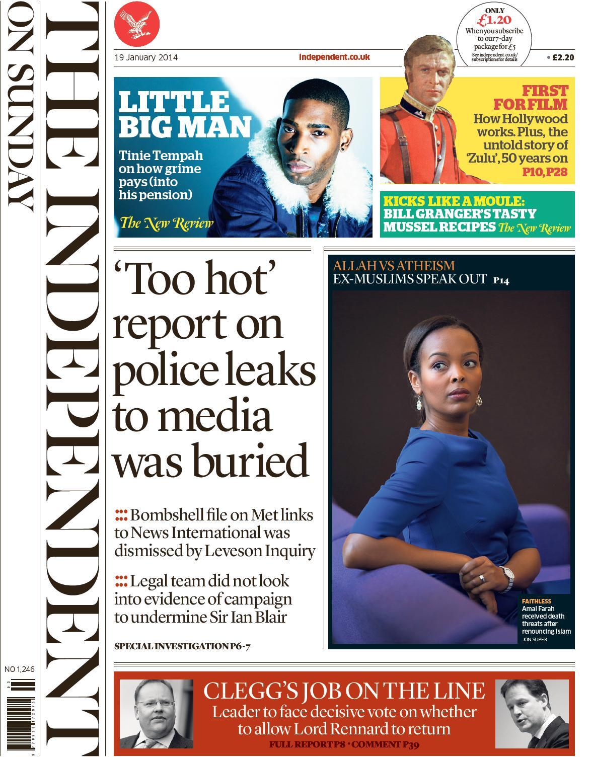 "Independent on Sunday: ""'Too hot' report on police leaks to media was buried"" #tomorrowspaperstoday http://t.co/OYoeSBGdH7"
