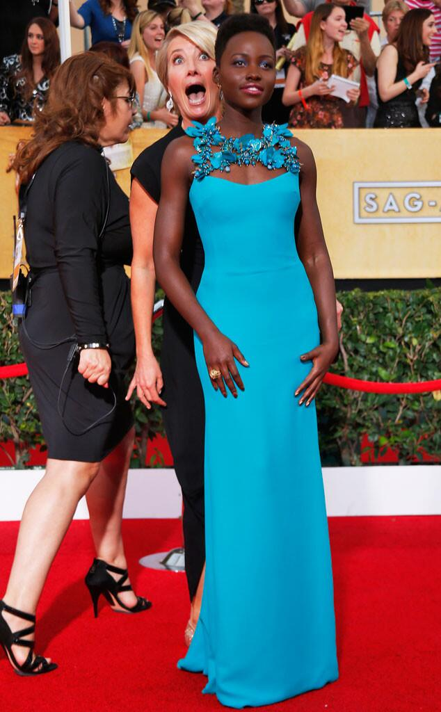 RT @eonline: Emma Thompson photobombs Lupita Nyong'o at the #SAGAwards, aka the best #ERedCarpet moment ever. http://t.co/W5smFQfbp1