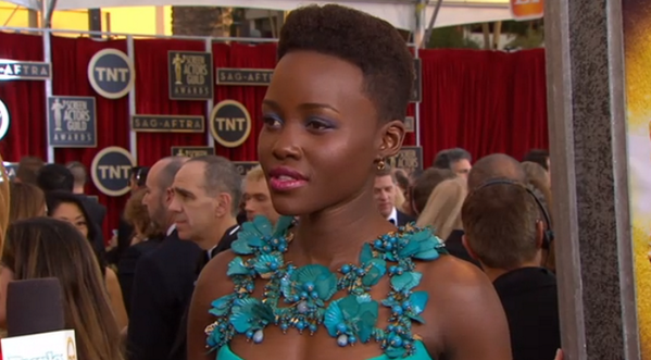 Oh, Lupita. We're in love with this embellished gown! #SAGawards http://t.co/jiRhvgaZdK