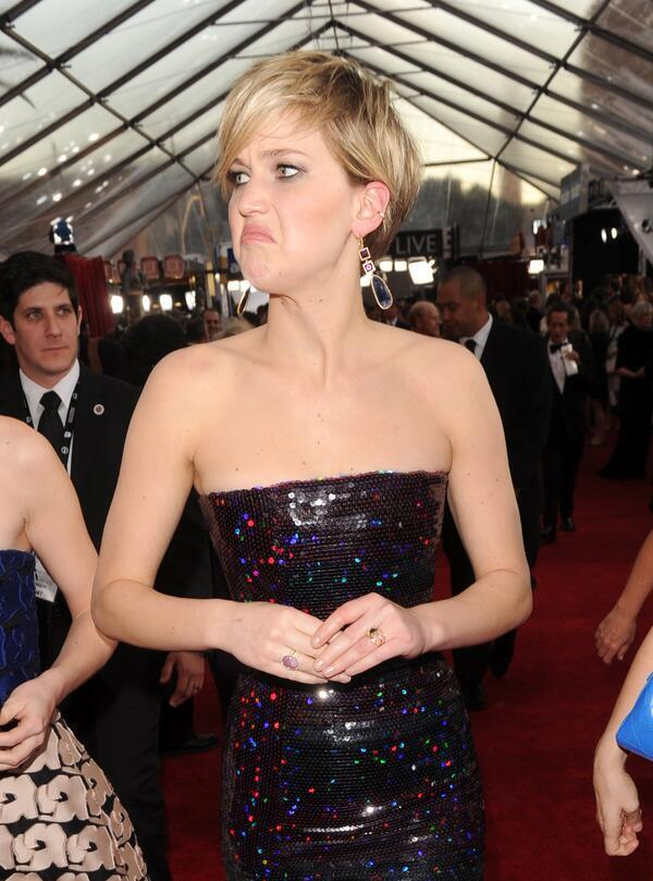 Queen of Derp is back, Jennifer Lawrence at the #SAGAwards http://t.co/KkQrmH8Lmw