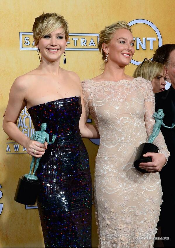 #2 Jennifer Lawrence and @ElisabethRohm backstage in the Press Room at the #SAGAwards http://t.co/6TLRf9WWX8