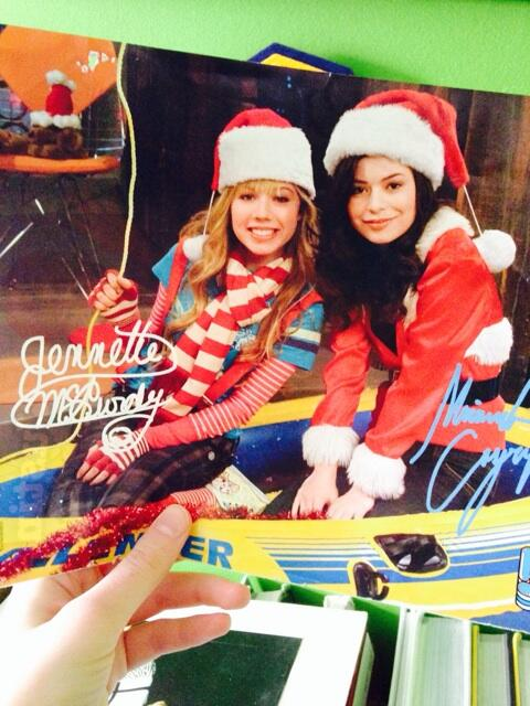 The actual picture from a magazine when iChristmas was being filmed... Good times
