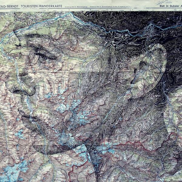 Portraits Drawn on Vintage Maps by Ed Fairburn http://t.co/2F5RJO24yL