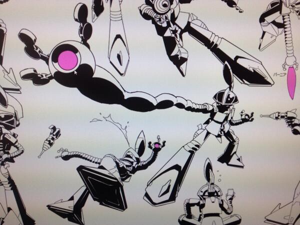 Here are some drawings of Hawayankee, Space Dandy's mecha.
