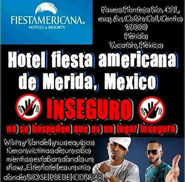 Este hotel @fiestamericana no es seguro, no lo recomendamos. http://t.co/QzicG3EysL